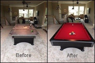 Pool table repair in Orlando, Florida.