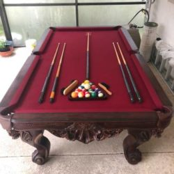 Antique Red Cloth Pool Table