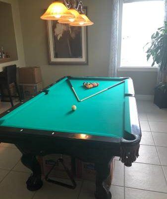 Brunswick Pool Table with Matching Table Top and Cue Rack