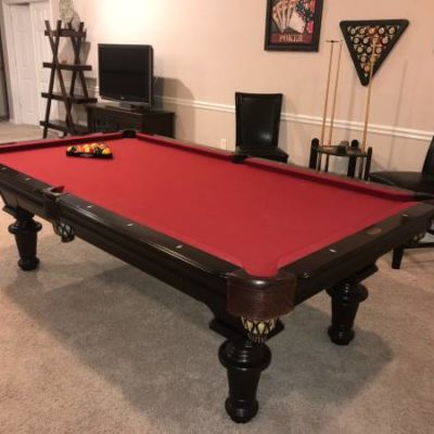 Olhausen 8' Professional Pool Table. Cherry with Mother of Pearl