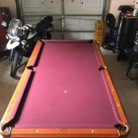 7 ft Pool Table, Bar Chairs, Budweiser Table Light, Cues, 2 Sets Balls