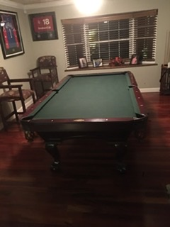 Salero 4x8 cherry wood slate pool table rarely used, 3 barstools and 9 cue sticks and stand